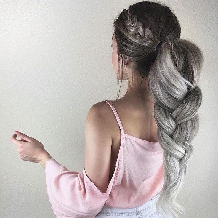 hair style, пепельные волосы, прическа, коса, мода 2017