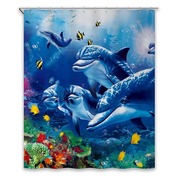 Bathroom Shower Curtain Set Waterproof Blue Sea Dolphin Decor Polyester Fabric #CHUNYI #Nautical