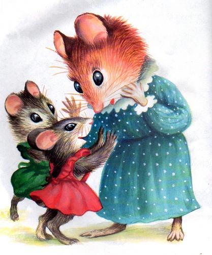 Прикольные картинки, картинка мышка с мышатами для детей