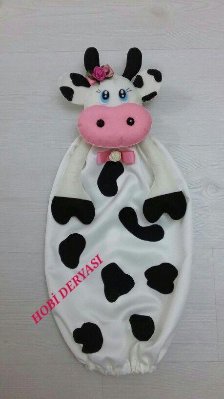 Keçe inek poşetlik, felt cow bag holder
