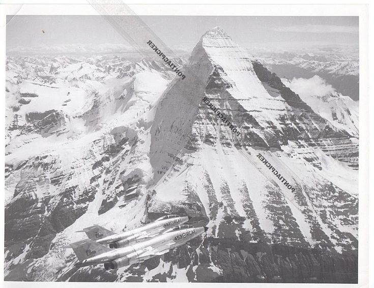 RCAF McDonnell CF-101 Voodoo Supersonic Fighter Jet Rockies Military Vtg Photo