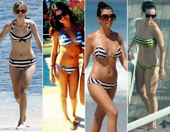 As listras têm tudo a ver com a pegada navy do verão! O top com lacinho no centro da Taylor Swift tem um jeitinho retrô. Já os modelos tipo cortininha da Selena Gomez e Kourtney Kardashian são mais sexy. Katy Perry apostou em um estilo mais étnico com listras versão tie-dye!