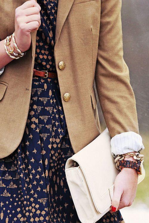 Tan blazer & navy dress