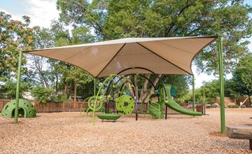 The Super CoolToppers® Pyramids perfect for your Evos® playground and offers comfortable shade for your playground or skatepark.