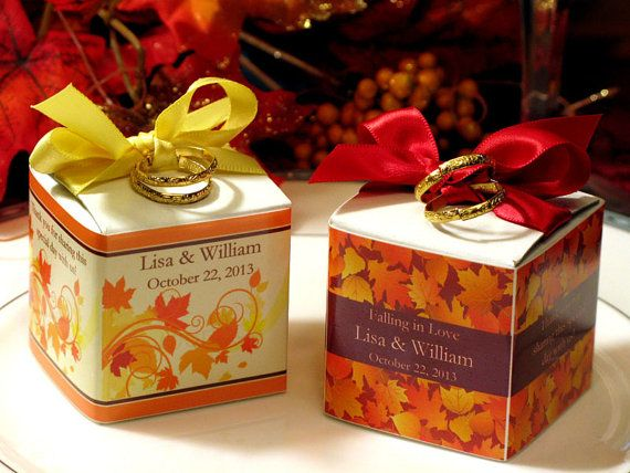 AUTUMN FALL Wedding Square Favor Boxes 2 Inches By Shadow090109