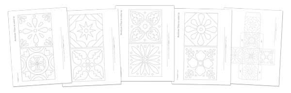 Talavera tiles craft project templates and patterns - https://happythought.co.uk/product/cinco-de-mayo-printable-kids-activity