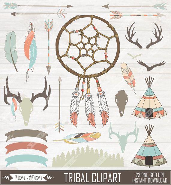 Tribal Clipart Digital Dream Catcher Native Clip от PixelShmixel