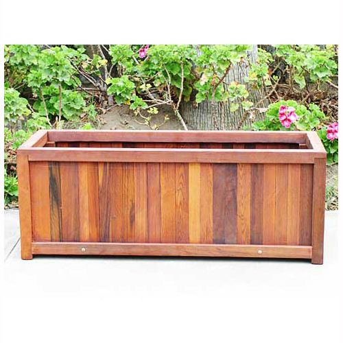 Wooden planter boxes redwood outdoor heavy duty planter for Wooden garden box designs