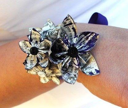 Handmade Origami Paper Flower Wrist Wrapped by DanasPaperFlowers, $15.00