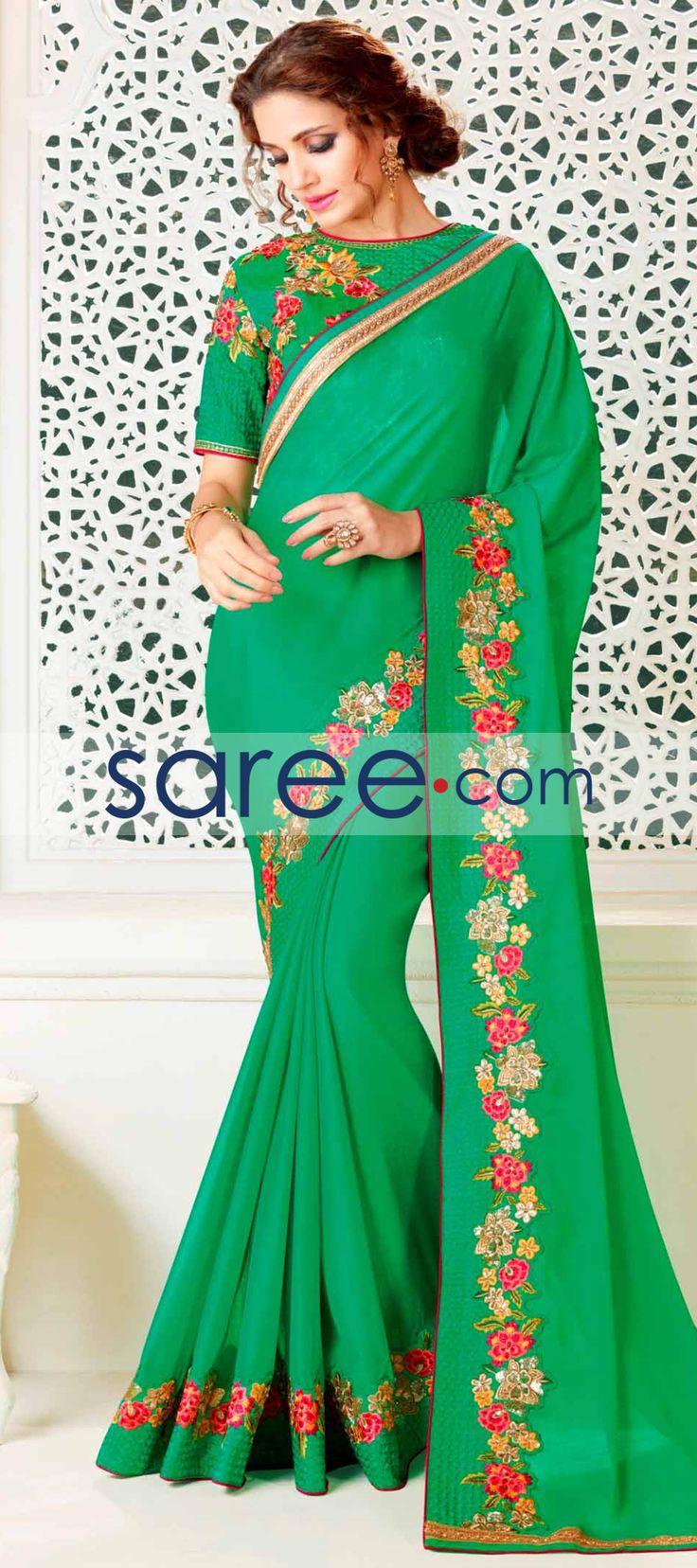 GREEN CHIFFON SAREE WITH EMBROIDERY WORK  #Saree #GeorgetteSarees #IndianSaree #Sarees #PartywearSarees #RegularwearSarees #officeWearSarees #WeddingSarees #BuyOnline #OnlieSarees #GeorgetteSarees #NetSarees #ChiffonSarees #DesignerSarees #SareeFashion