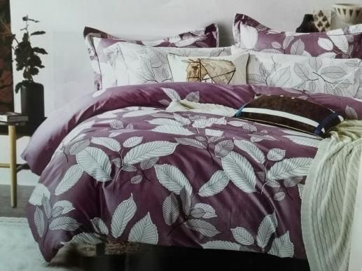 Ткань для  постельного белья,на сером/фиолетовом фоне листики