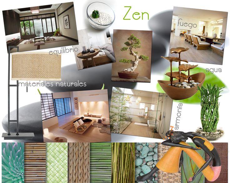 Zen. Estilo asiático que transmite paz y serenidad. Se utilizan materiales naturales. Los ambientes son despojados y suele haber presencia (real o representativa) de los cuatro elementos: aire, fuego, tierra y agua.