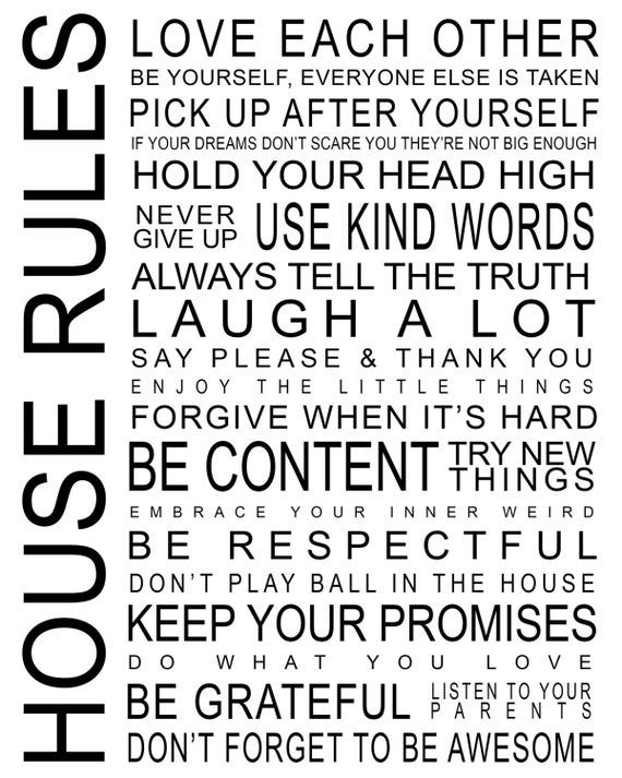 Home Guidelines #1 Quote Wall Decal Vinyl Graphic Photograph for Residence Children Room Man Cave Teen Bed room Residing