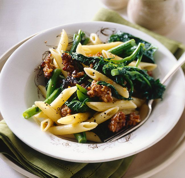 Penne with Broccoli Rabe and Sausage will end your day on a great note. The bold flavor of the Broccoli Rabe plays well with the sausage.