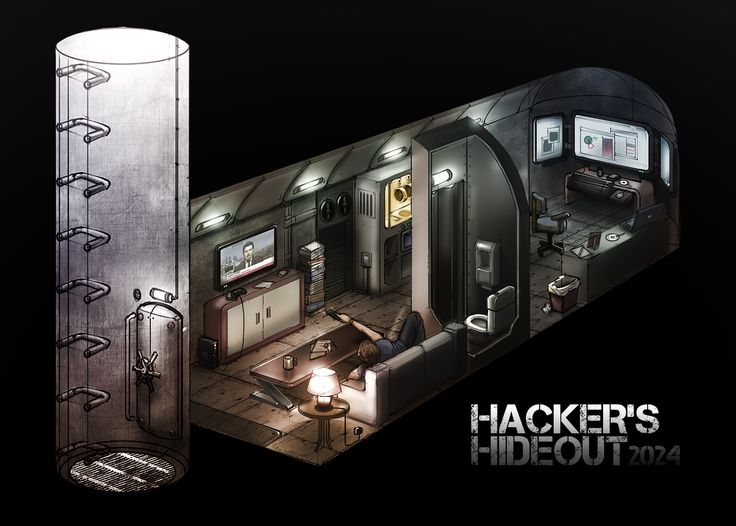 Cyberpunk, Bunker, Future, Futuristic, Dystopia, Hacker's Hideout by ~Hazzard65 on deviantART