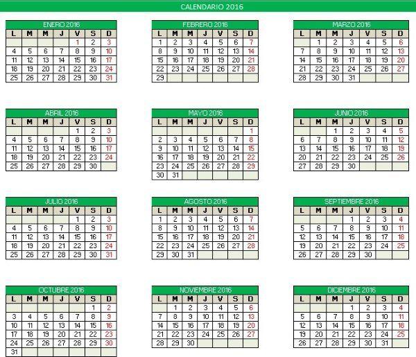 calendario 2016 excel