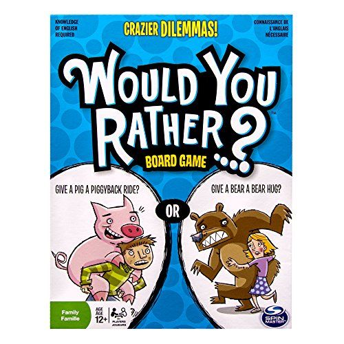 Spin Master Games - Would You Rather - Crazier Dilemmas Board Game Spin Master Games http://www.amazon.com/dp/B00IGR5G3U/ref=cm_sw_r_pi_dp_eJXmvb0DM1019