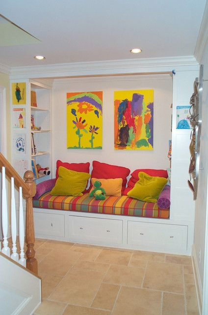 Interior, Stunning Kids Reading Nook Design Ideas With Colourful Cushion And Bookshelf Beside With Private Painting Decoration: Inspiring Cozy Reading Nook Design Ideas For Free Space
