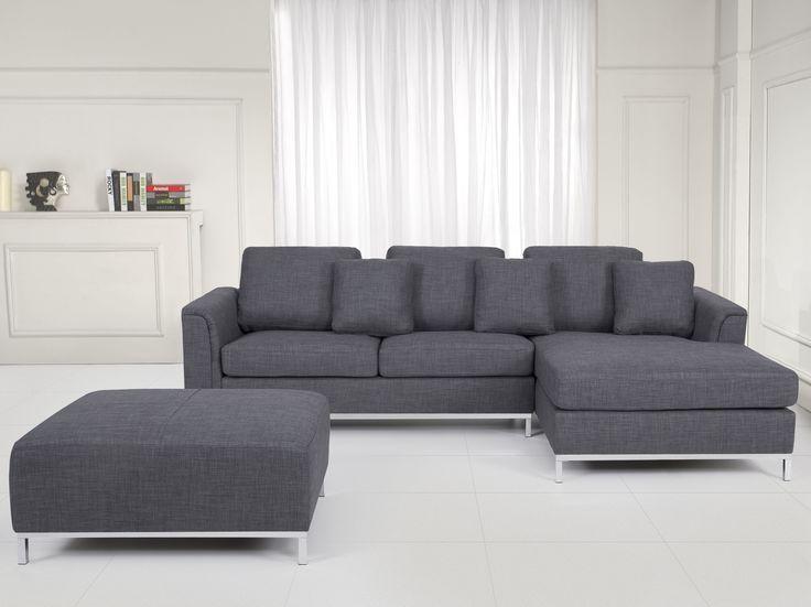 Nowoczesna sofa z pufą w kolorze szarym L - kanapa tapicerowana - OSLO