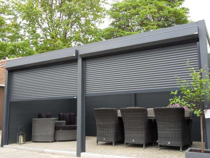 Afsluitbare terrasoverkapping veranda met rolluiken terrasoverkappingen pinterest - Aluminium pergola met schuifdeksel ...