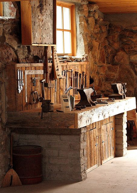 Workbench with Stone by Mertonian, via Flickr....I would love a kitchen like this, minus the tools!