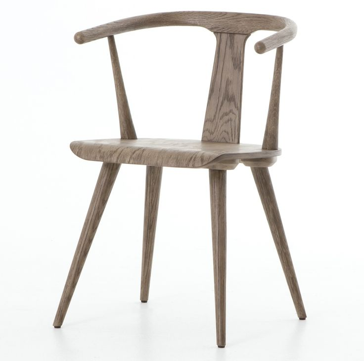 Iconic Mid Century Modern Windsor Dining Arm Chair In Grey Oak Wood Finish