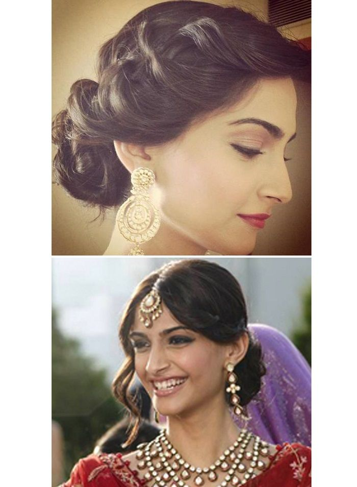 indian style hair buns sonam kapoor updo pulled back wedding hairstyle ideas 7993