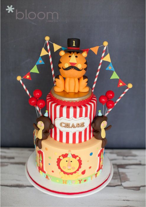 Fisher Price Circus theme 1st birthday cake - by BloomCakeCo @ CakesDecor.com - cake decorating website