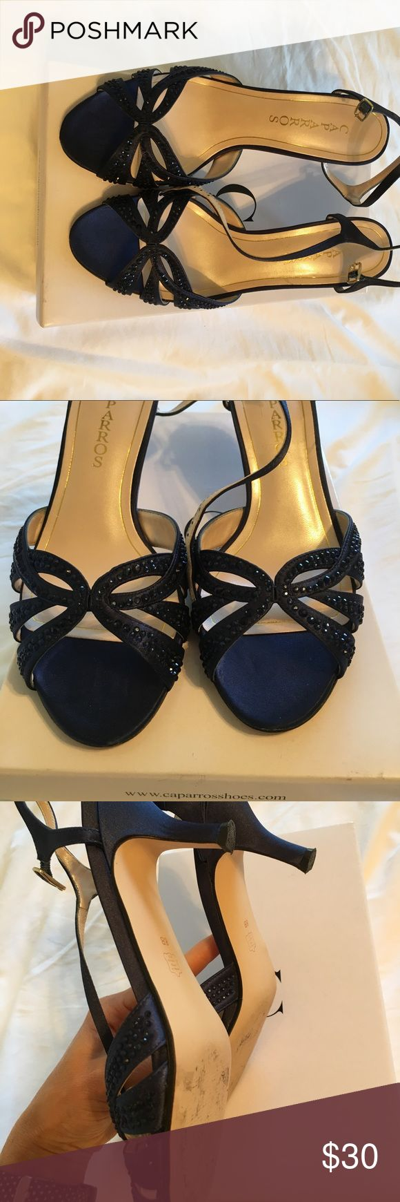 Caparros Heirloom navy blue satin dress sandal Worn once for a wedding, EUC , taken off right after ceremony. Caparros Shoes Sandals