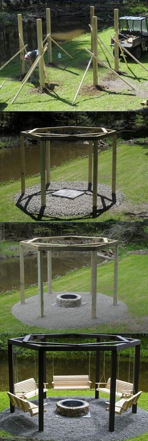 How to Build Swings Around a Campfire - Kind of loving this idea. Oooh, and put twinkiling lights around the posts!