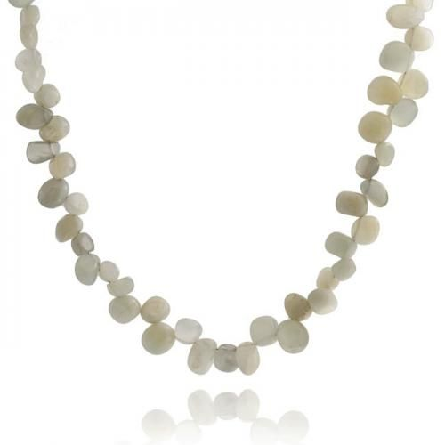 Bling Jewelry Genuine Drop Style Gemstone Chips Moonstone Necklace 16in