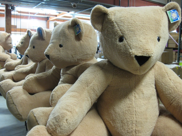 Giant Vermont Teddy Bears waiting for their new homes.