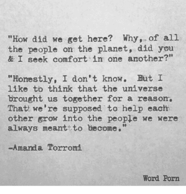 """How did we get here? Why, of all the people on the planet, did you and I seek comfort in one another?""- Amanda Torroni"