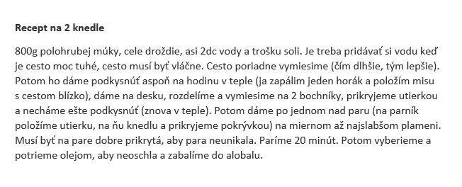 Recept na knedľu