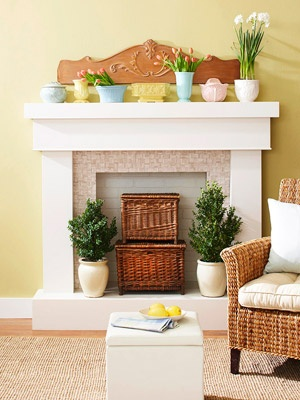 Like white brick in back. Topiaries & toy baskets...perfect combo.