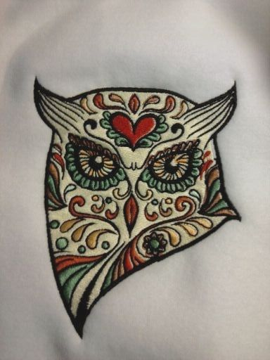 Sugar Skull Owl (embroidery design). This would be a great tattoo.