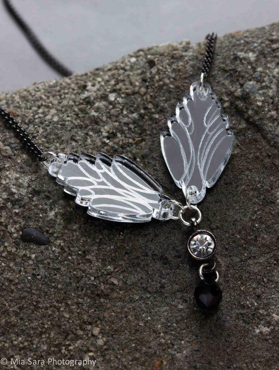 Deccoangel silver mirror lasercut necklace with by Deccoangel, $40.00