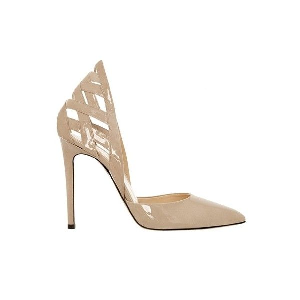 Alejandro Ingelmo Athena ($299) ❤ liked on Polyvore featuring shoes, pumps, heels, sapatos, обувь, taupe patent, pointed toe shoes, dorsay pump, taupe shoes and high heel pumps