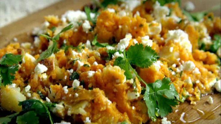 Gekruide zoete aardappelen met citroen feta koriander 9/10 heel goed met lam of gebraad met n slaatje
