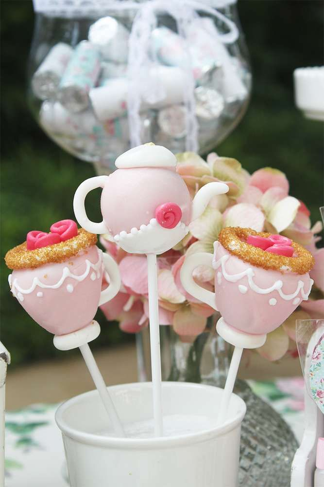 Such gorgeous cake pops! Love the detail! Just perfect for a Tea Party Garden Birthday party! See more party ideas at CatchMyParty.com