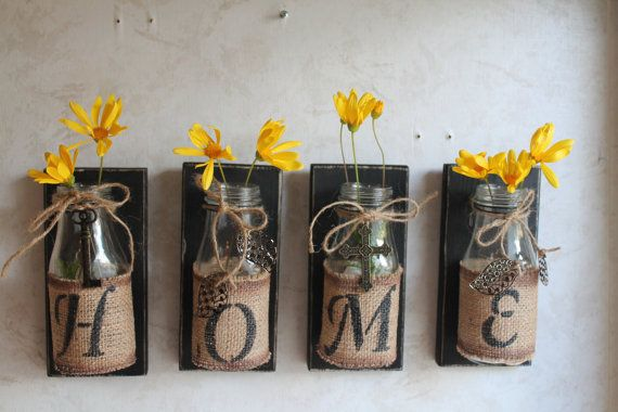 HOME Wall Decor..Set of 4...Upcycled Bottles....HOME Decor....Country Prim...Country Decor...Cabin Decor..Custom Orders Welcome via Etsy