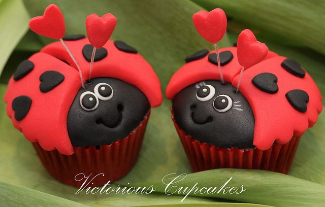 Ladybug cupcakes. I make them with marcipan and food colors.