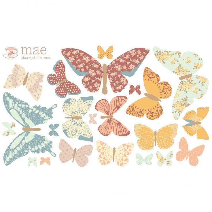 Elegant Sticker Papillon antique Butterflies petit mod le Love Ma Stickers papillon Berceau Magique