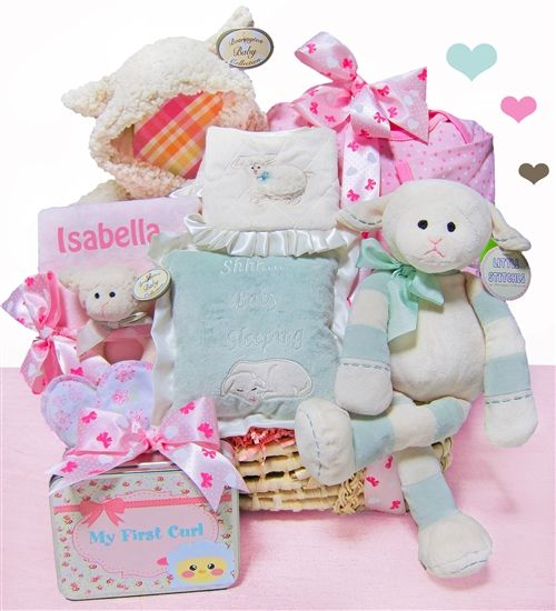 28 best girls baby gift baskets images on pinterest baby girl girls plush lamby love luxury gift basket by baby gifts n treasures babygifts negle Image collections