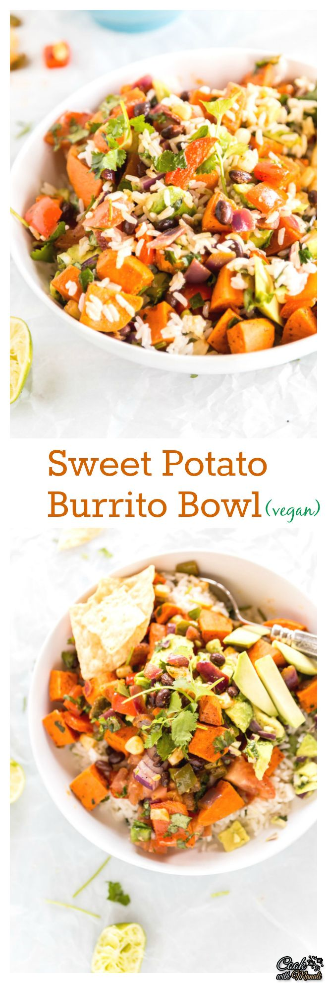 Burrito Bowl with spiced sweet potatoes, black beans, corn, red pepper ...