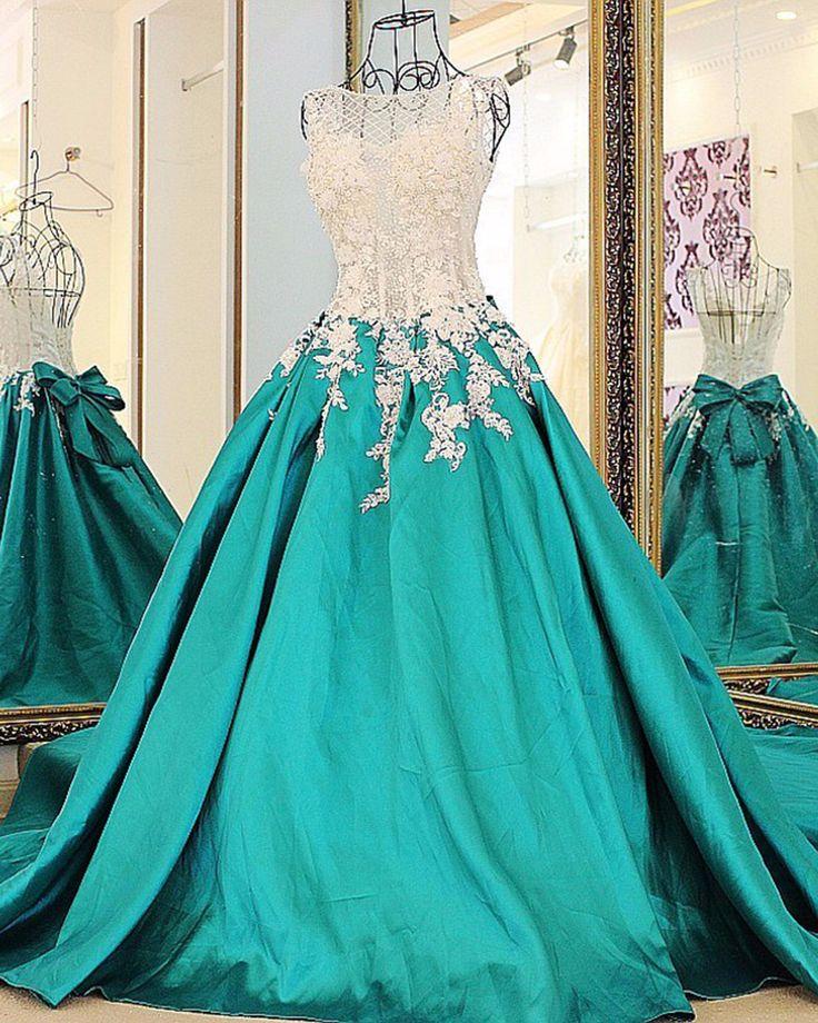 Beautiful green satin prom dress, prom gown wedding dress