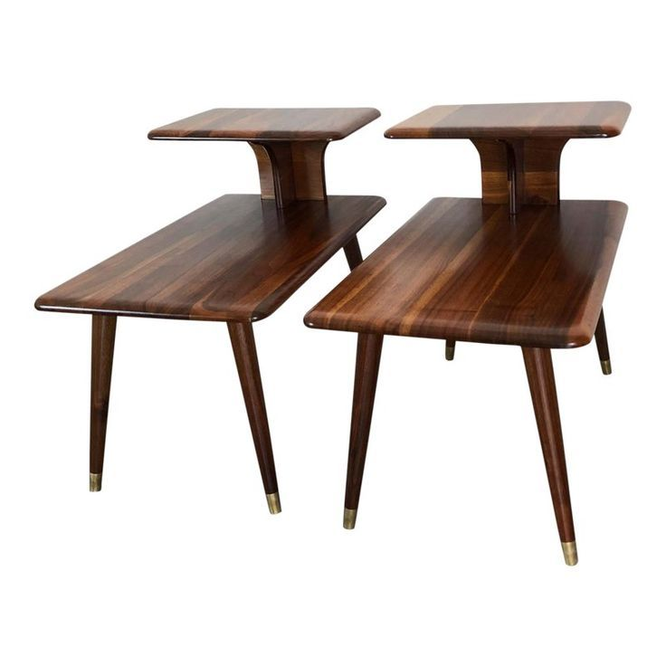 Mid Century Modern Walnut Two Tier Side Tables A Pair Mid Century Modern Side Table Mid Century Modern Living Room Furniture Mid Century Side Table