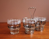 3 Vintage Libbey Glass Tumblers / Condiment Jars in Metal Caddy