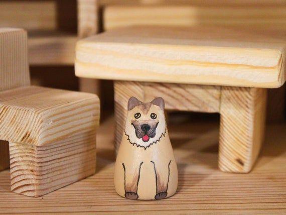 Wooden Animal Figurine Dog Peg Doll Shepherd Doll House Pet