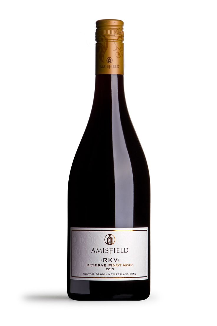 Amisfield RKV Reserve Pinot Noir 2013 - Complex aromas of deep dark fruits, mocha, licorice and hints of spice. The acid draws the wine through the palate, while the plush fruits and tannin give it strength, elegance and presence.